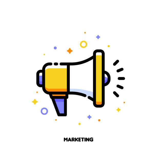 digital-media-marketing geschäft symbol mit megaphon. flache gefüllte umriss-stil. pixel perfect 64 x 64. editierbare schlaganfall - megaphone stock-grafiken, -clipart, -cartoons und -symbole