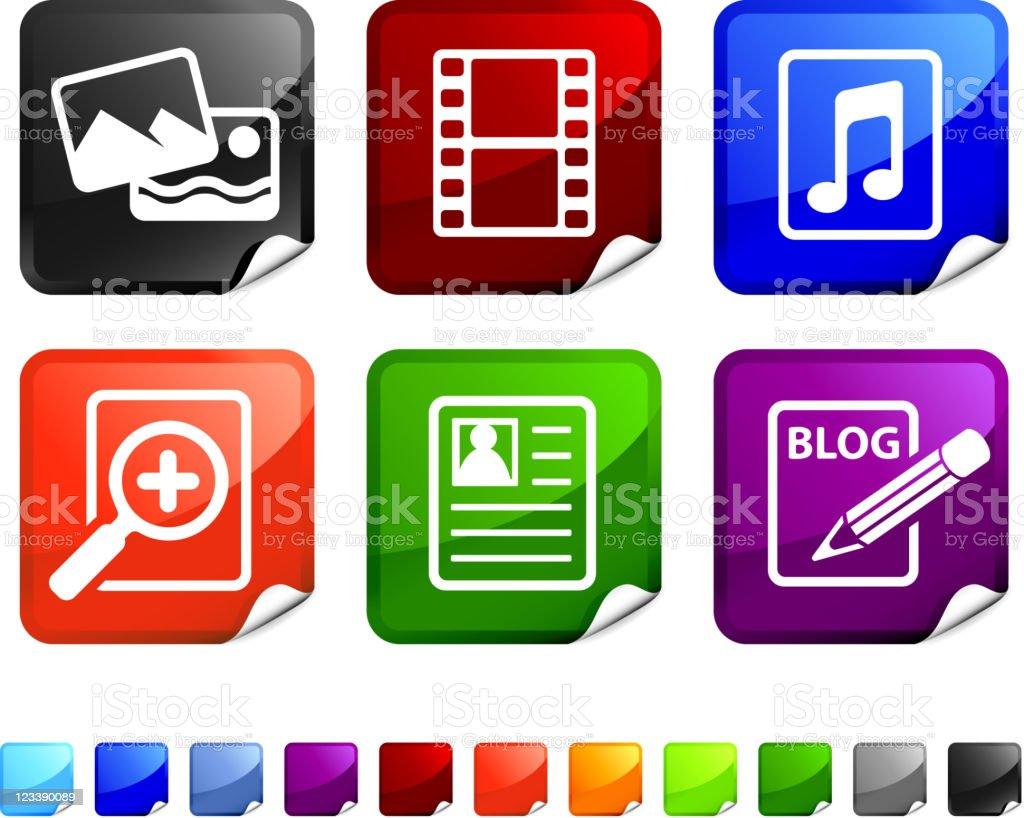 digital media royalty free vector icon set stickers royalty-free digital media royalty free vector icon set stickers stock vector art & more images of black color