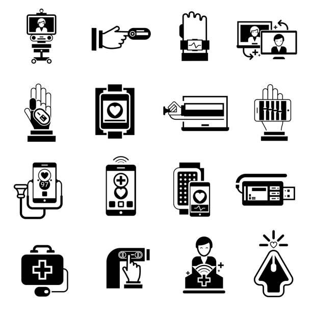 數位醫學圖示黑色 - 健康科技 幅插畫檔、美工圖案、卡通及圖標
