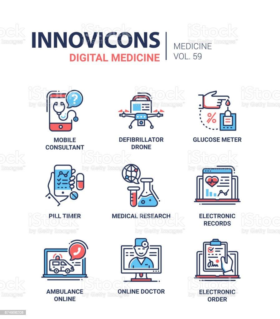 Définir des icônes du design ligne médecine numérique- - Illustration vectorielle