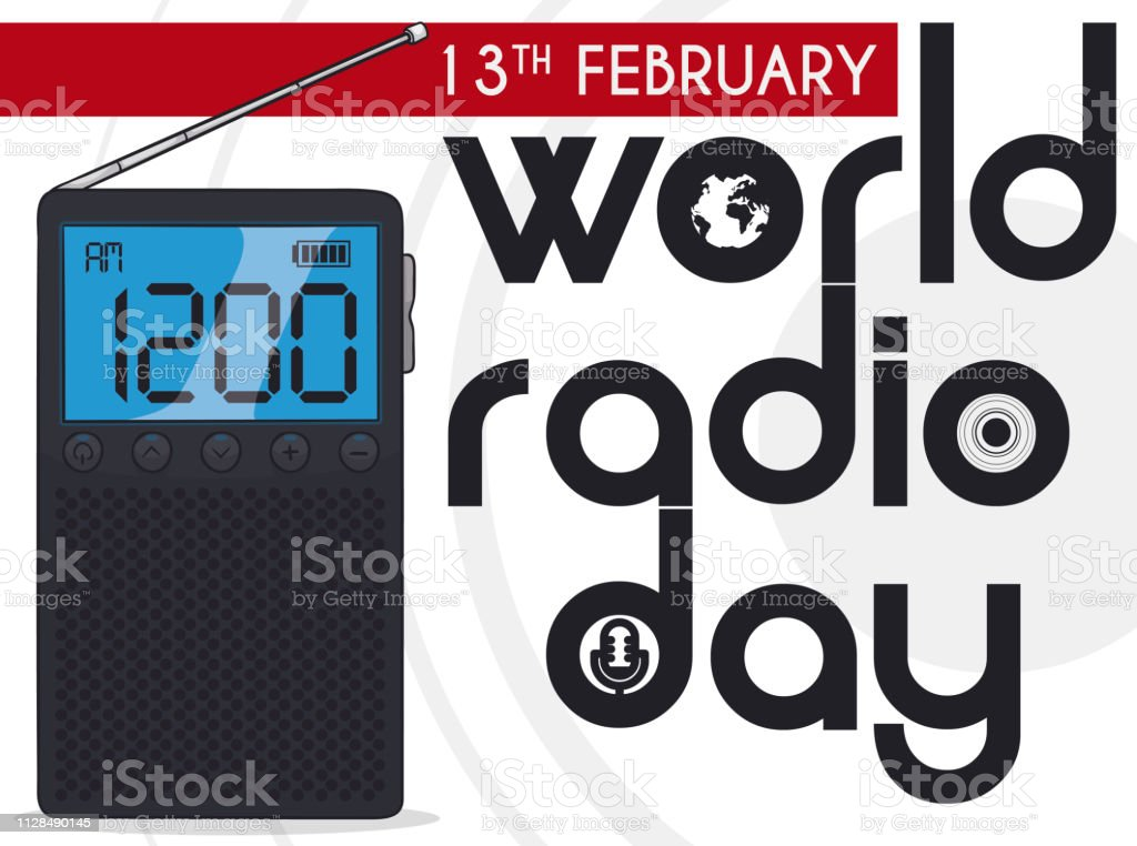 Tiny radio with digital screen broadcasting World Radio Day event...