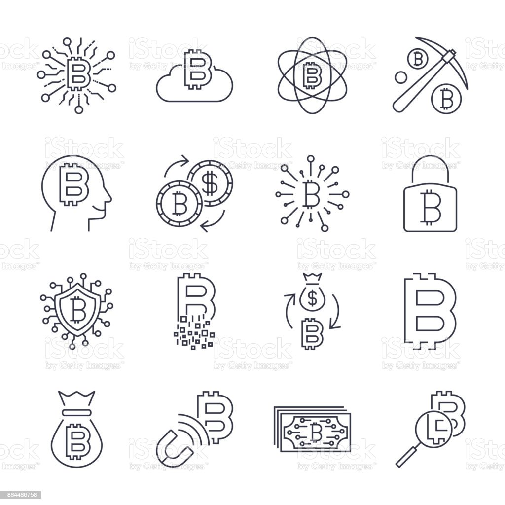 Digital money, bitcoin vector line icons, minimal pictogram design, editable stroke for any resolution. Editable Stroke vector art illustration