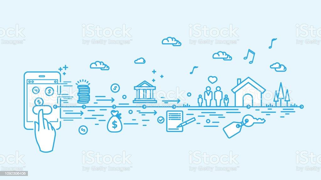 Digital mortgage vector art illustration