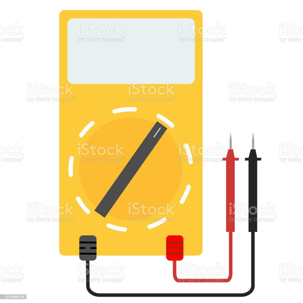 Digital Multimeter Electrical Measuring Instrument On White Voltmeter Wiring Diagram Background Simple Sign Linear