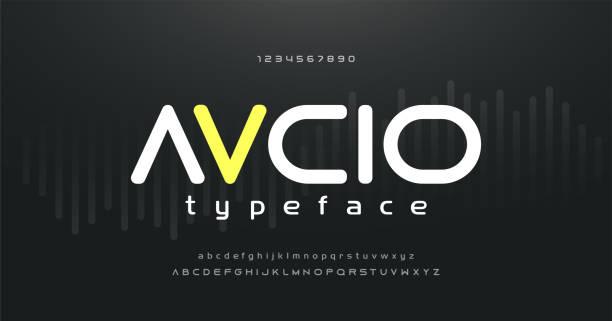 디지털 음악 현대 알파벳 및 숫자 글꼴. 타이포그래피 일렉트로닉 댄스 뮤직 미래 창조적 인 글꼴 과 숫자 디자인 개념. 벡터 일러스트 - future stock illustrations