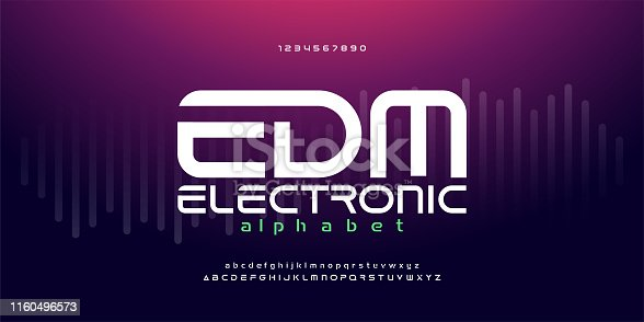 digital music modern alphabet fonts. Typography edm electronic dance music future creative font design concept. vector illustraion