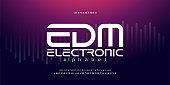 istock digital music modern alphabet fonts. Typography edm electronic dance music future creative font design concept. vector illustraion 1160496573