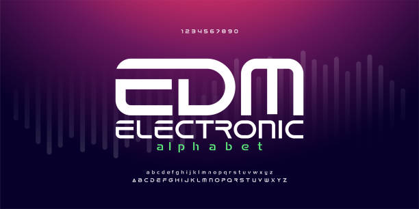 stockillustraties, clipart, cartoons en iconen met digitale muziek moderne alfabet fonts. typografie edm elektronische dansmuziek future creative font design concept. vector illustraion - dj