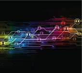 Multicolored digital network design.  EPS10 file using transparencies. Global colours used