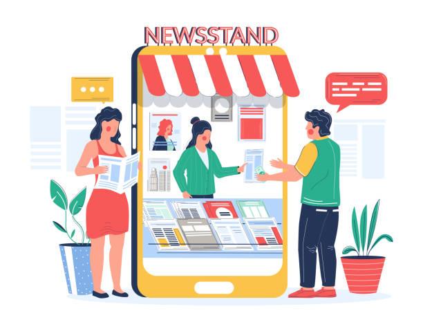 stockillustraties, clipart, cartoons en iconen met digitale kiosk. mensen die krantentijdschrift online kopen en lezen, vector vlakke illustratie - woman home magazine