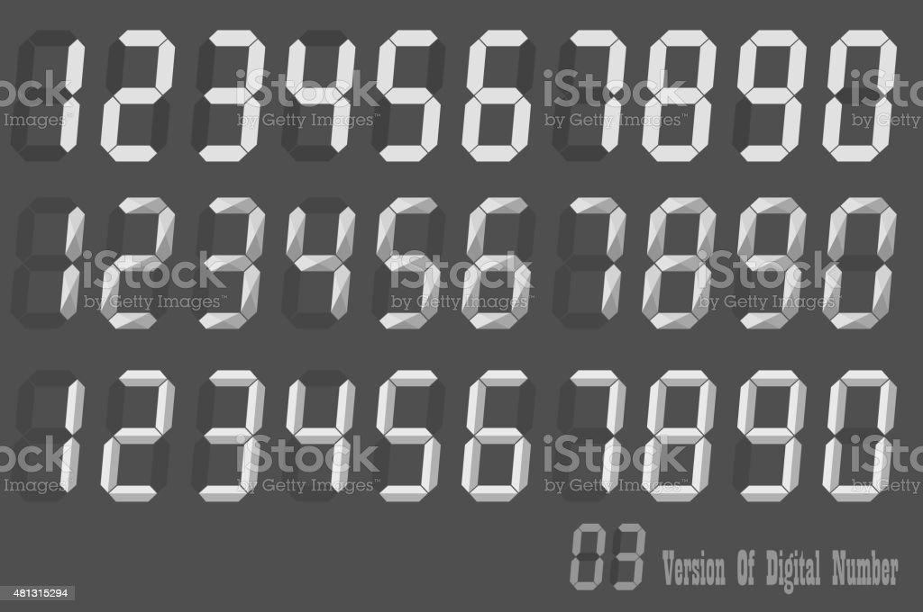 Digital Number italic sets, three version of digital number vector art illustration