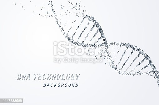 Digital of DNA virtual, technology and medical concept, vector art and illustration.