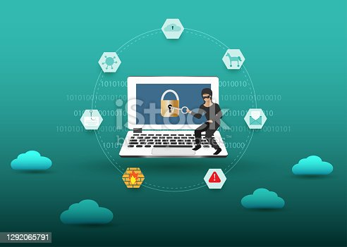 Hacker try to unlock the key on computer with clouds and hacking icons. Idea for digital online cyber crime with , hacking, phishing, scam, malware , trojan and financial security concept.