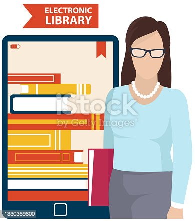 istock Digital online library on smartphone. Distance education with modern technology application 1330369600