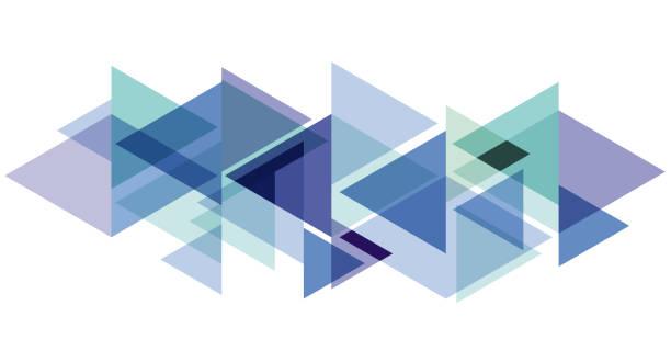 stockillustraties, clipart, cartoons en iconen met digitaal schilderen. abstracte geometrische kleurrijke vector banner en achtergrond. driehoeken en pijlen in blauw - driehoek