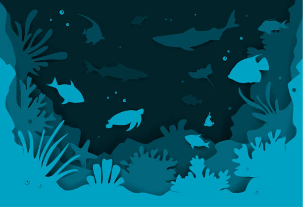 デジタル ペーパー カット魚とサンゴ礁ベクトル図テクスチャ スタイル水中深海背景 - 水族館点のイラスト素材/クリップアート素材/マンガ素材/アイコン素材