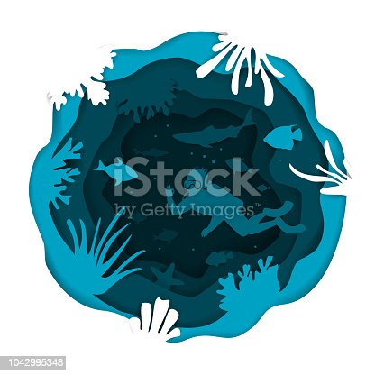 digital paper cut style underwater deep sea round circle wavy layered effect background with scuba diver fishes and coral reefs vector illustration