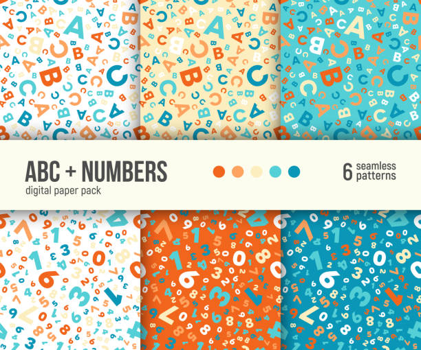 Digital paper pack, 6 abstract seamless backgrounds, vector patterns set. Digital paper pack, set of 6 abstract seamless patterns. Abstract geometric backgrounds. Vector illustration. ABC and math background for kids education. alphabet backgrounds stock illustrations