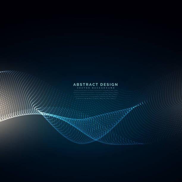 digital particles wave mesh technology background vector art illustration
