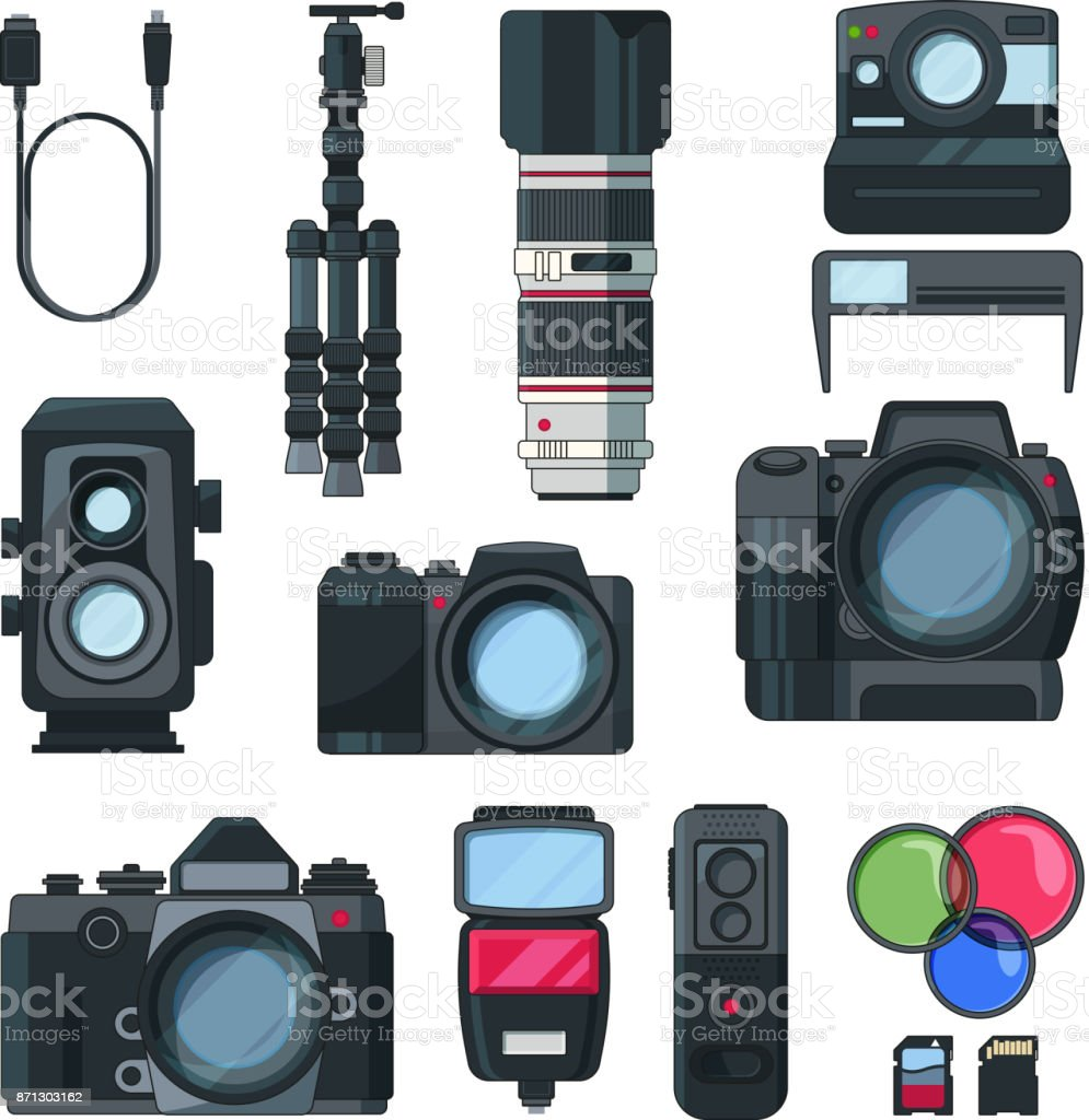 Digital photo and video cameras in cartoon style. Professional equipment vector art illustration