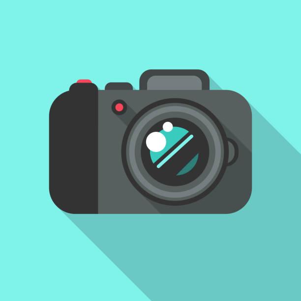 デジタルフォトカメラフラットデザインベクトルアイコン - カメラ点のイラスト素材/クリップアート素材/マンガ素材/アイコン素材