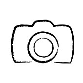 Digital photo camera hand drawing icon logo, stock vector illustration