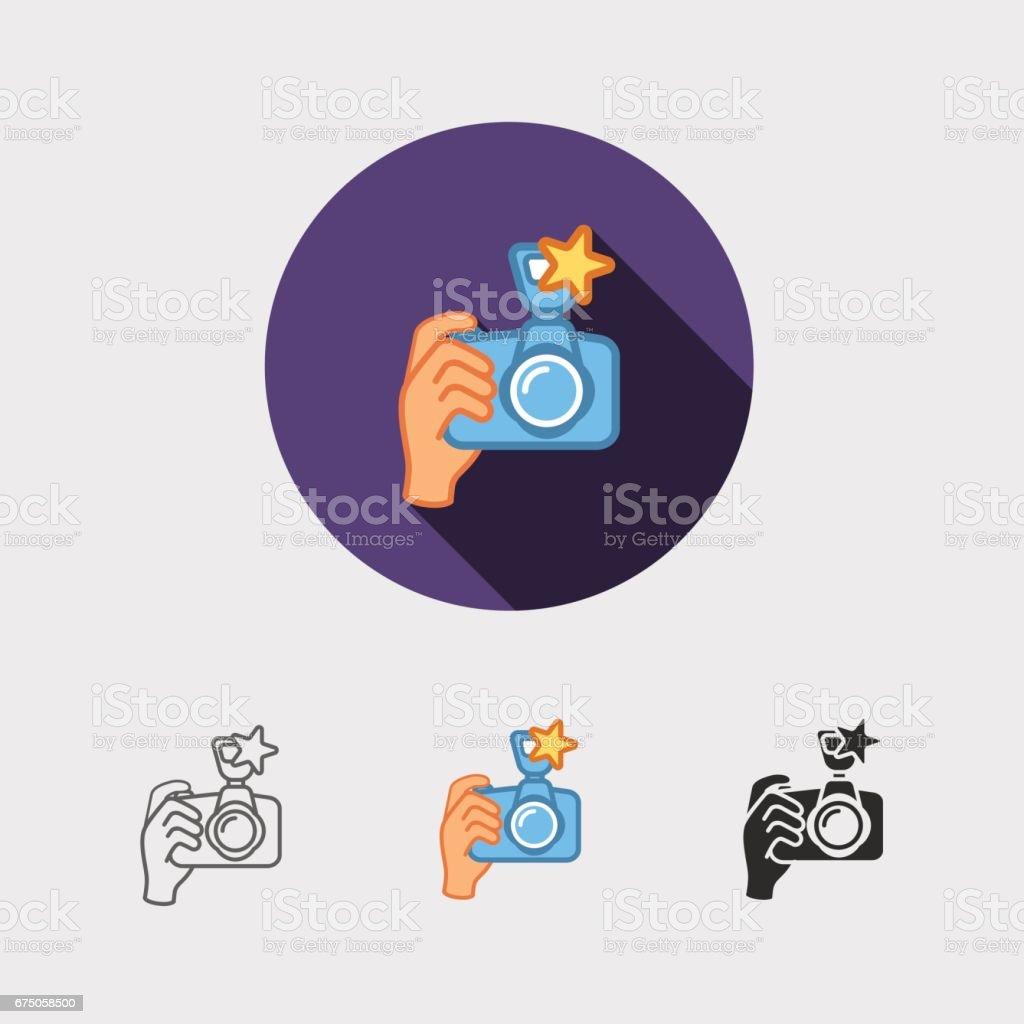 digital photo camera in hand vector art illustration