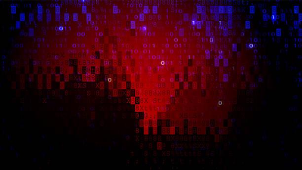 Digital Pixel Screen Dark Red BG. Cybercrime Concept Digital Pixel Screen Dark Red Background. Cybercrime Concept computer virus stock illustrations