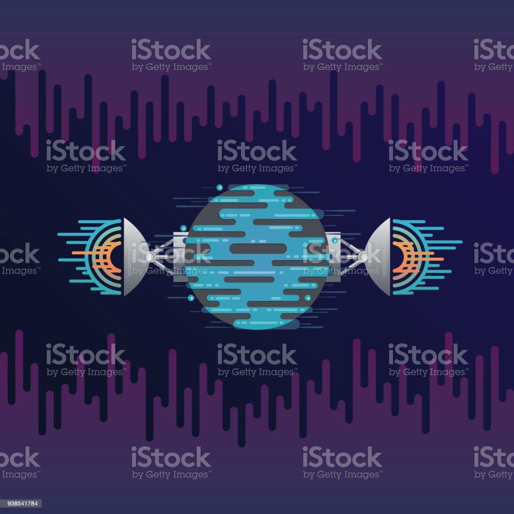 Digital planet and radar dish sound or radio wave vector art illustration