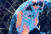 Digital planet earth glowing global curved world map from space vector stock illustration