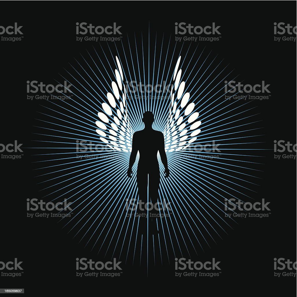 Digital portrait of an angel with wings royalty-free stock vector art