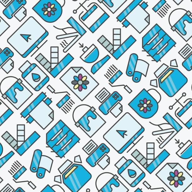 ilustrações, clipart, desenhos animados e ícones de impressão digital sem costura padrão com ícones de linha fina. ilustração vetorial para a página da web, banner, mídia impressa. - fontes e tipografia