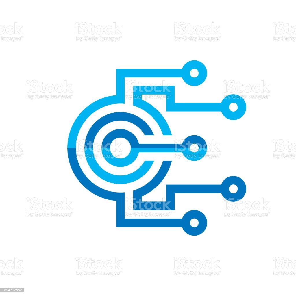 Digital processor CPU - vector icon template for corporate identity. Abstract computer chip sign. Network, internet technology concept illustration. Design element. vector art illustration