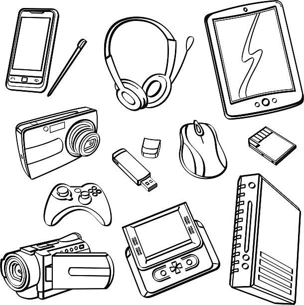 デジタル製品のコレクション - ゲーム ヘッドフォン点のイラスト素材/クリップアート素材/マンガ素材/アイコン素材