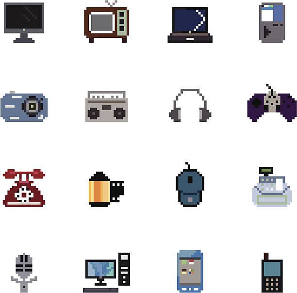 デジタル製品のピクセルのアイコン - ゲーム ヘッドフォン点のイラスト素材/クリップアート素材/マンガ素材/アイコン素材