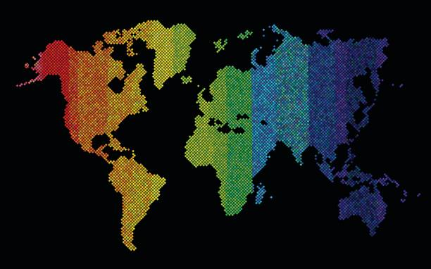 Digital Rainbow World Map Stock Vector Art More Images Of