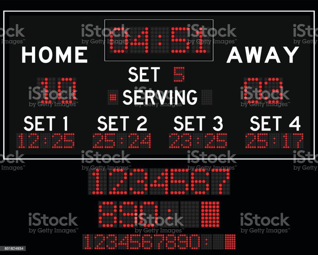 Digital red led volleyball scoreboard vector art illustration