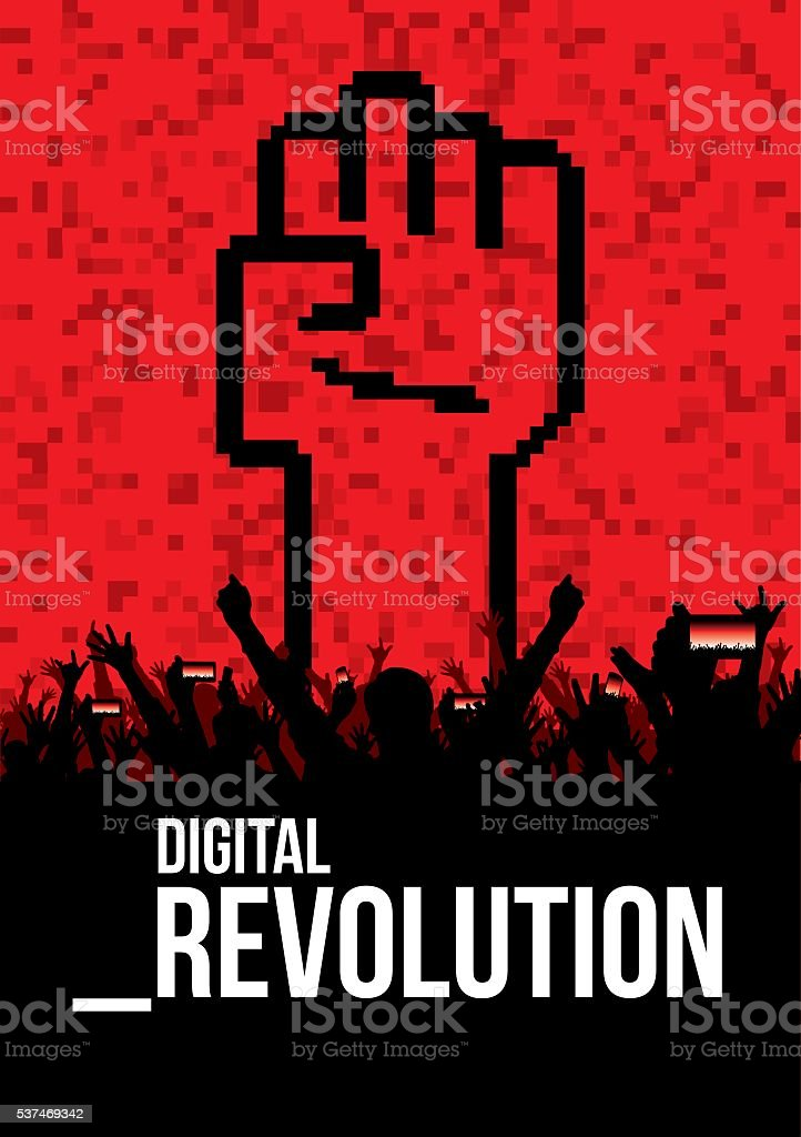 Digital revolution poster vector art illustration