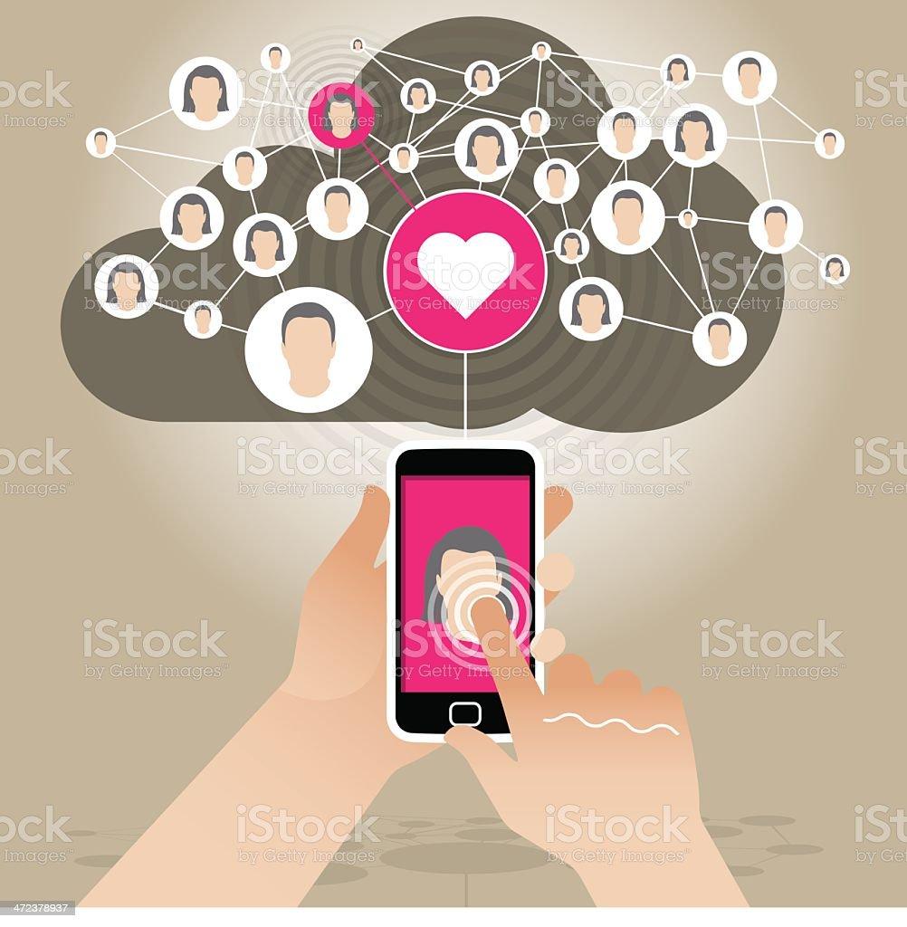 Digital romance via Smart Phone vector art illustration