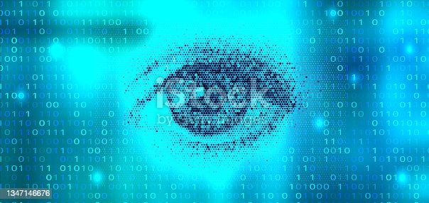 istock Digital scanning of the retina. Blue eye vector illustration 1347146676