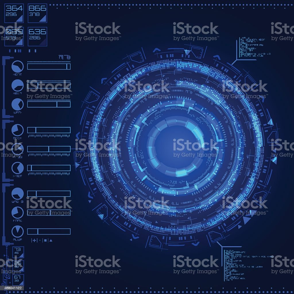 A digital sci-fi themed blue colored screen with stats vector art illustration