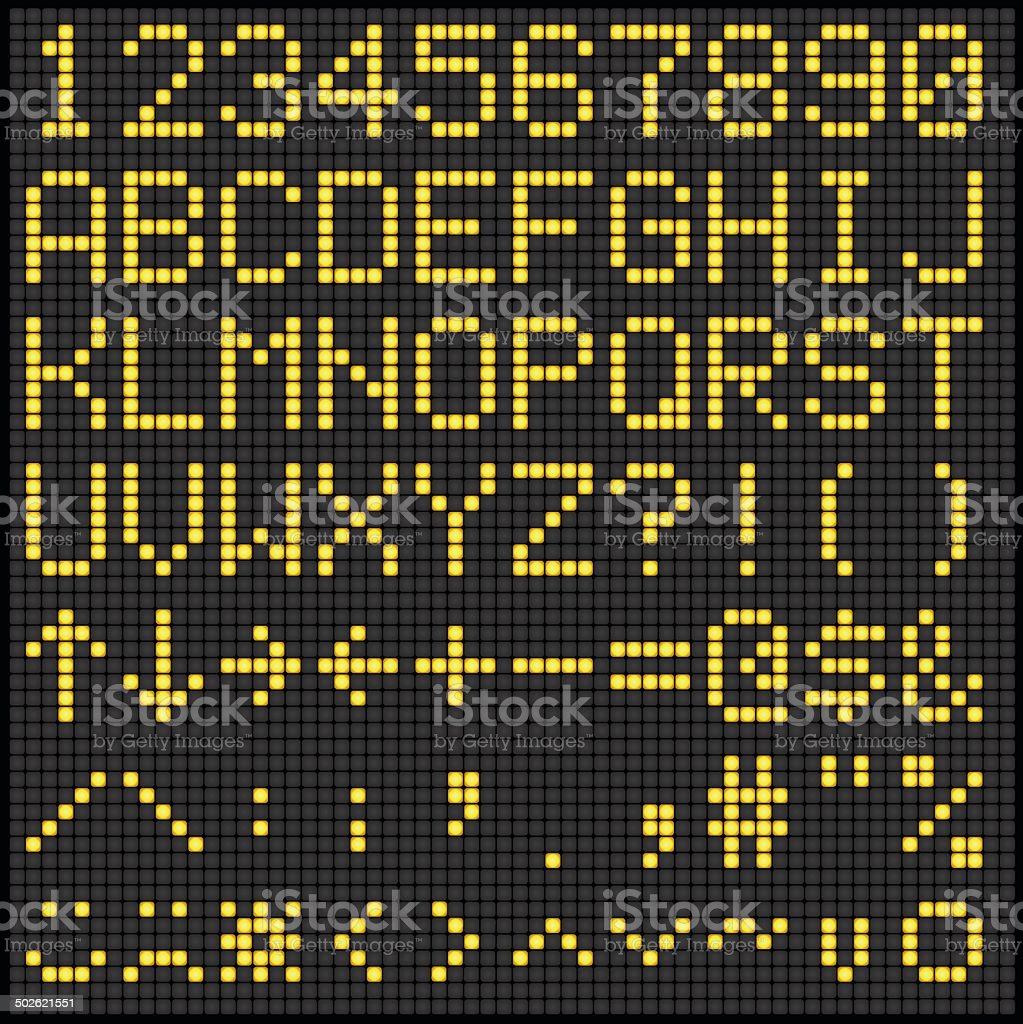 Digital Scoreboard Alphabet and Numbers vector art illustration