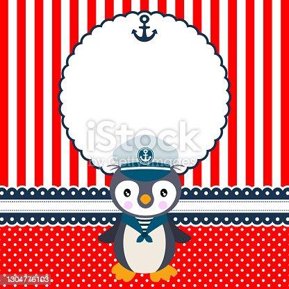 istock Digital scrapbook layout photo frames with cute sailor penguin 1304776103