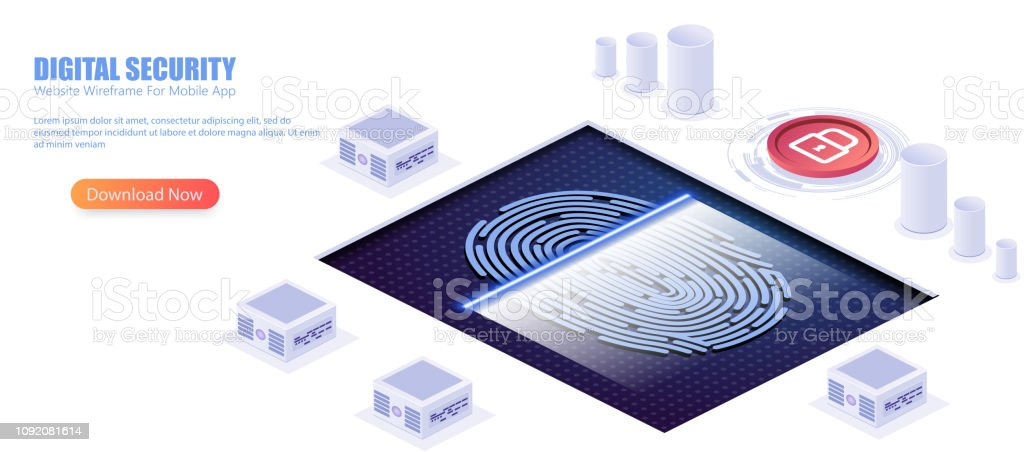 Digital Security Access With Biometrics Data Isometric