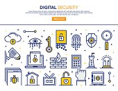 Line vector illustration of digital security services. Banner/Header Icons.