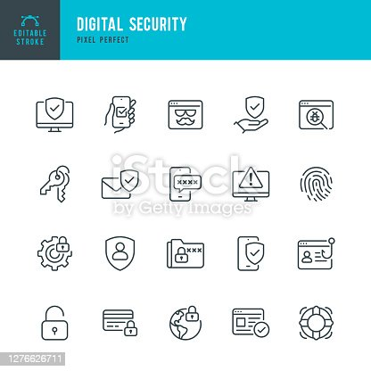 Digital Security - thin line vector icon set. 20 linear icon. Pixel perfect. Editable stroke. The set contains icons: Security System, Antivirus, Privacy, Fingerprint, Web Page, Password, Support.