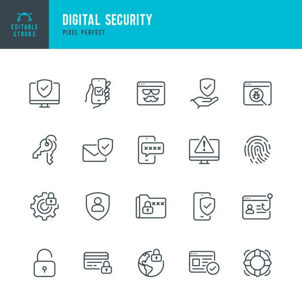 ilustrações, clipart, desenhos animados e ícones de segurança digital - conjunto de ícones vetoriais de linha fina. pixel perfeito. golpe editável. o conjunto contém ícones: sistema de segurança, antivírus, privacidade, impressão digital, página da web, senha, suporte. - chave