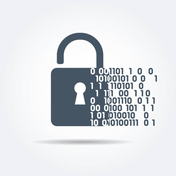 Digital security A vector illustration of a padlock with binary data code. Digital and online security concept. encryption stock illustrations
