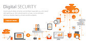 Web banner depicting digital security concept including copy space text. Used text: Myriad Pro.