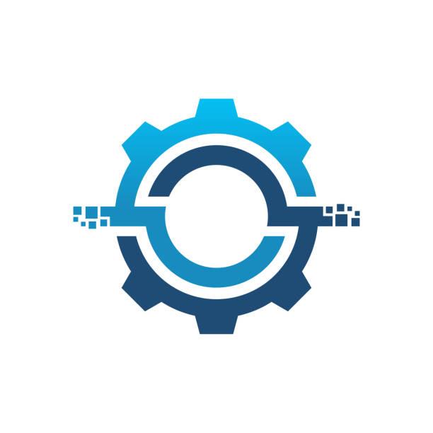 illustrazioni stock, clip art, cartoni animati e icone di tendenza di logo del servizio digitale, modello di design del logo del servizio tecnico - attrezzatura